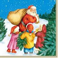 3208 - Santa Claus and kids in the forest