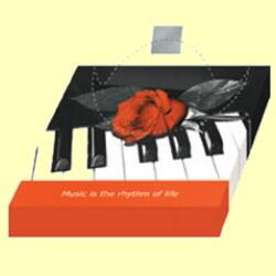 2406 - Rose on piano - Coffee napkin