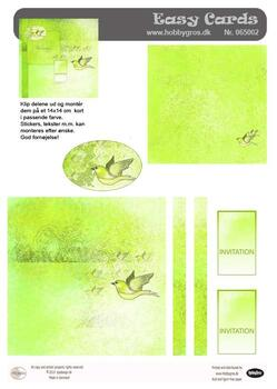 065002 Easy Card Invitation - Green with bird