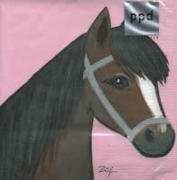 4183 - Brown horse - Pink background - Linda
