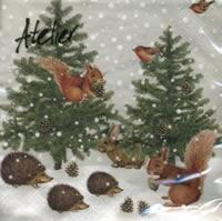 4644 - Squirrels and hedgehogs in winter forest