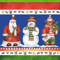 3057 - Christmas border of Christmas friends - Blue