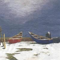 4377 - The red and blue boat in the snow