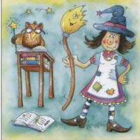 3996 - Fun witch and owl with books