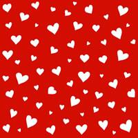 3879 - White hearts on red background