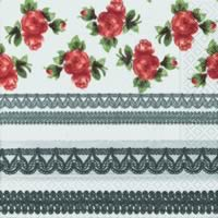 3744 - Silver borders and Red flowers