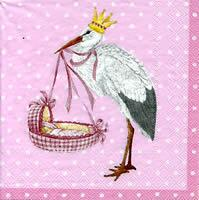 3178 - Stork and baby - Pink background