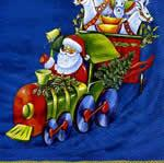 2615 - Christmas train - Blue background