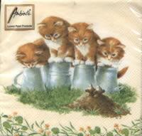 4624 - Four kittens and 2 mice - Coffee napkin