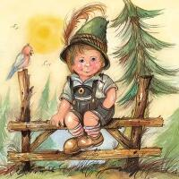 5410 - Little Joseph - Tyrolean boy and bird on fence